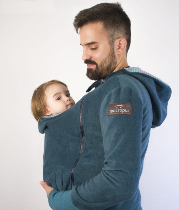 Abrigo porteo y embarazo – polar verde