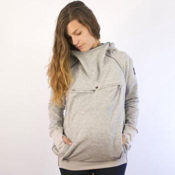 Abrigo porteo y embarazo – sudadera gris