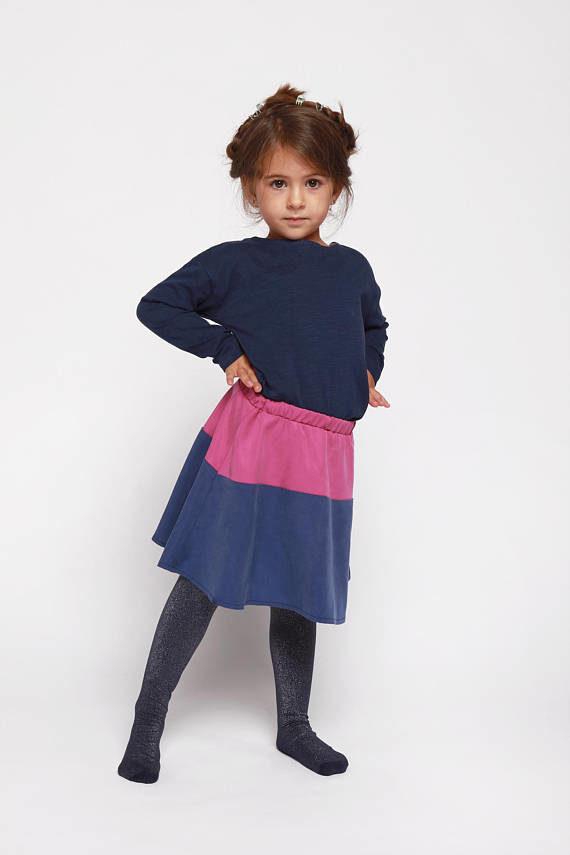 Falda Rothko. Falda con vuelo en rosa y azul 100% Tencel