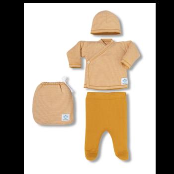 Pack Recién Nacido multirayas ocre y blanco