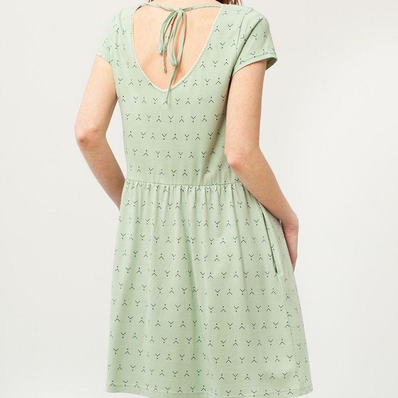 673350668 Vestido Paris verde - Adulto. Color verde menta y estampado abstracto.