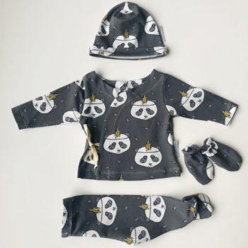 Conjunto New Born Grey Panda