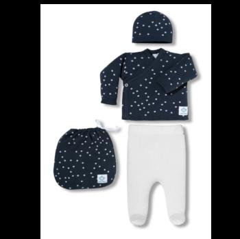 Pack Recién Nacido topitos azul y blanco