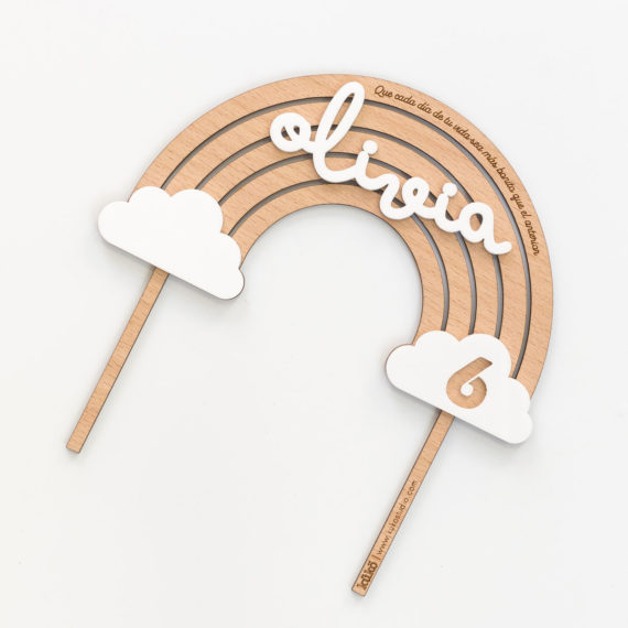 CAKE TOPPER ARCOÍRIS MADERA RELIEVE