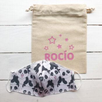 PACK Mascarilla Infantil + Bolsa PANDA