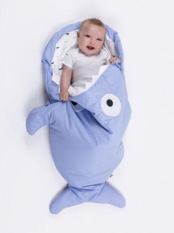 Saco tiburón azul celeste para bebés - Ballenas