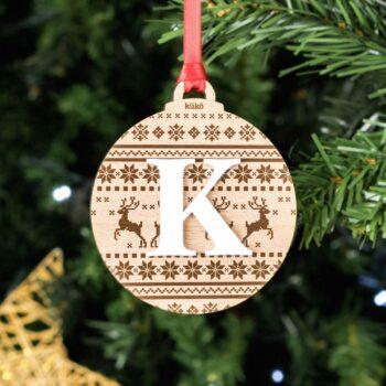 Bola de Navidad Estampado Madera