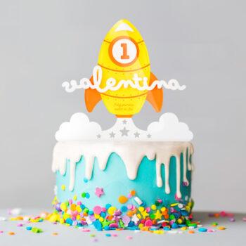 Cake Topper COHETE AMARILLO