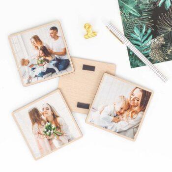 Fotos en madera personalizable IMÁN (set de 4)
