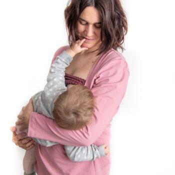 Camiseta lactancia y embarazo rosa – Manga larga
