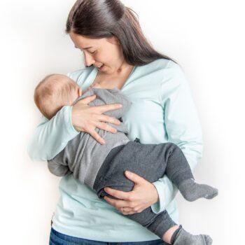 Camiseta lactancia y embarazo turquesa – Manga larga