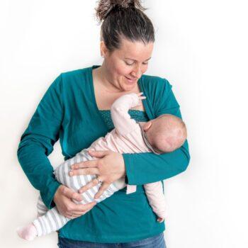 Camiseta lactancia y embarazo verde – Manga larga